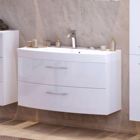 Meuble vasque Florent courbé 100cm 2 tiroirs - blanc