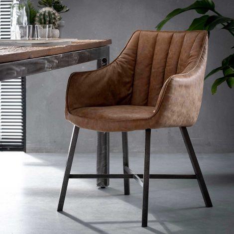 Lot de 2 fauteuils de salle à manger Strike - brun