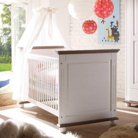 Lit bébé Laurel 70x140 - blanc/brun