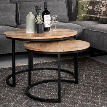 Lot de 2 tables basses Ronin ø70cm  rond – bois de manguier/fer