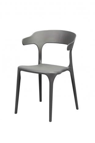 Chaise curved en polyuréthane. Lot de 4 - Gris