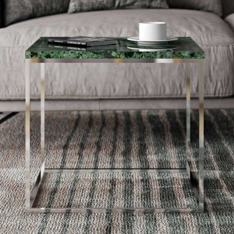 Table d'appoint Gleam 50x50 - marbre vert/chrome