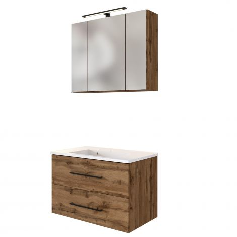 Set meuble lavabo Dusan 80cm - chêne wotan