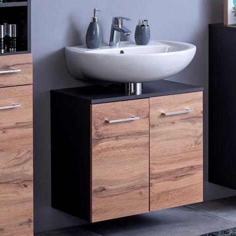 Meuble sous lavabo Pares 60cm 2 tiroirs - graphite/chêne wotan