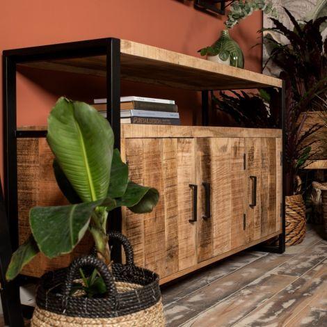 Buffet Havana 130cm à 3 portes - bois de mangue/fer