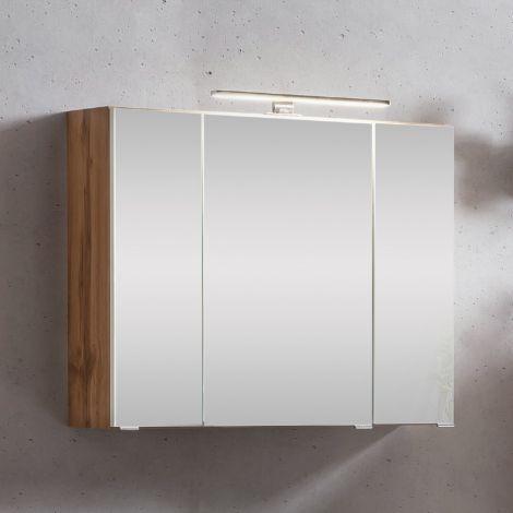 Armoire de toilette Kornel/Luna 80cm 3 portes & éclairage LED - chêne