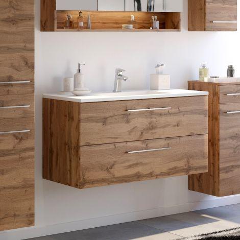 Meuble lavabo Sefa 100cm 2 tiroirs - chêne wotan