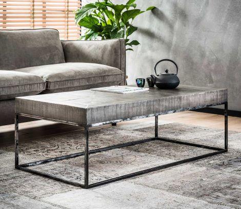 Table basse Emma 120x60 industriel - bois de mangue