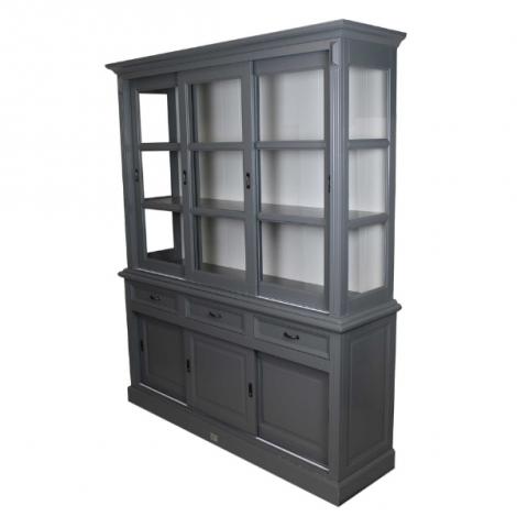 Vaisselier Provence 180cm à 6 portes & 3 tiroirs - gris foncé/blanc