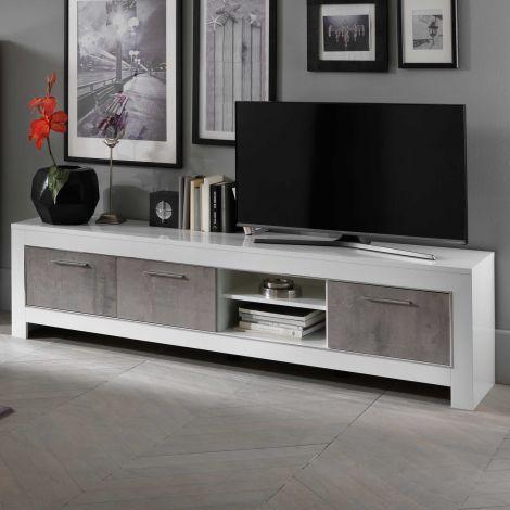 Meuble TV Modena 207 cm - blanc/béton