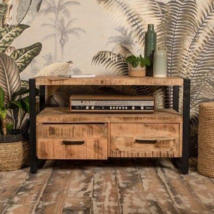 Meuble tv Havana 100cm avec 2 tiroirs - bois de mangue/fer