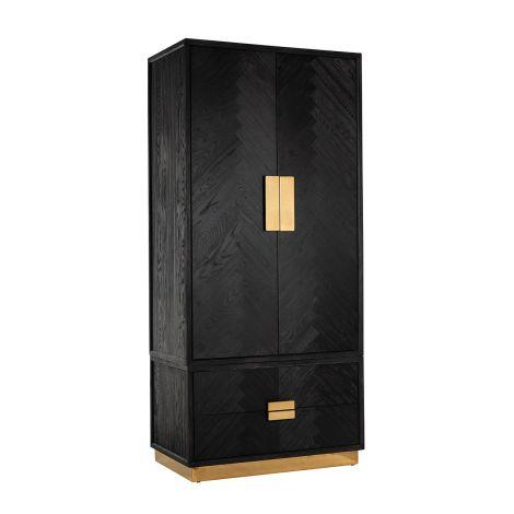 Armoire à vêtements Bony 100cm 2 portes & 2 tiroirs - noir/or