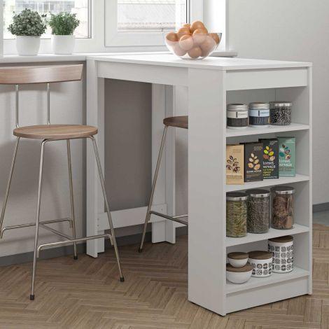 Table de bar Aravis 115x50 avec rangement - blanc