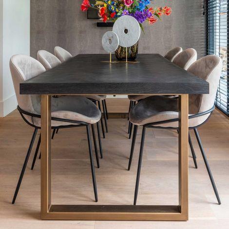 Table à manger Bony 220x100cm - noir/or brossé