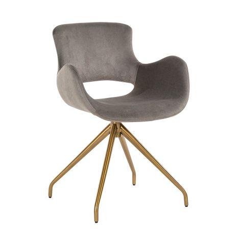 Chaise de salle à manger Sierra pivotante en velours - gris
