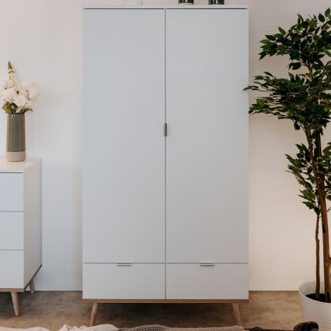 Armoire Göteborg 90cm 2 portes & 2 tiroirs - blanc