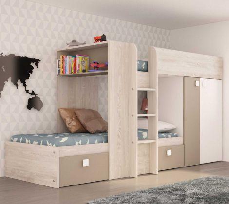 Lit superposé Beau avec armoire & tiroirs - pin/beige
