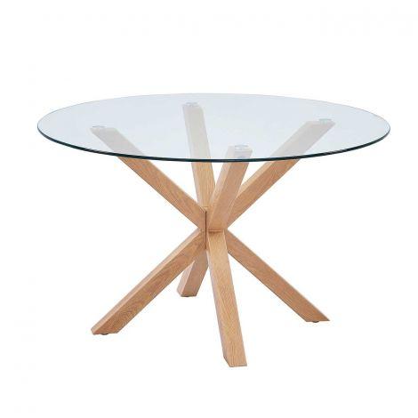 Table à manger Hasel ø120cm - brun/verre