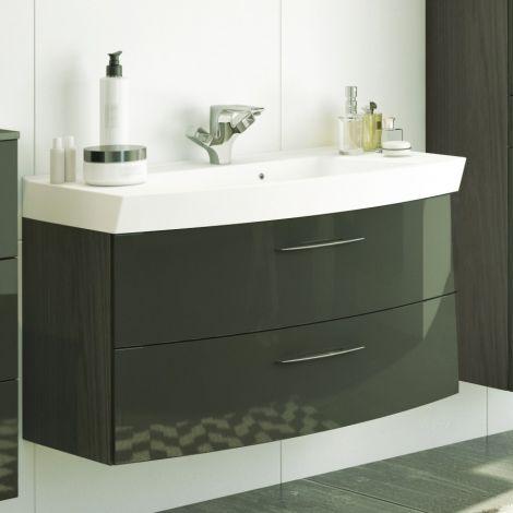 Meuble vasque Florent courbé 100cm 2 tiroirs - graphite/gris brillant