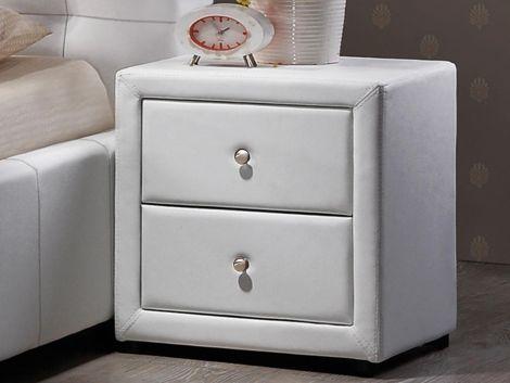 Table de chevet Olympia similicuir - blanc