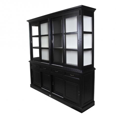 Vaisselier Provence 220cm à 8 portes & 4 tiroirs - noir/blanc