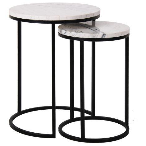Lot de 2 tables d'appoint Lexington 45x45cm - blanc/noir