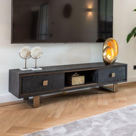 Meuble tv Gunter 190cm 2 tiroirs - noir/or