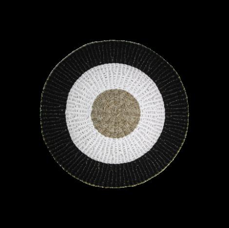 Tapis Malibu ø120cm raphia/zostère - naturel/blanc/noir