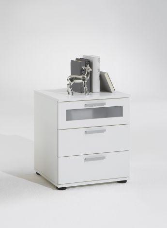 Table de chevet Jack à 3 tiroirs - blanc