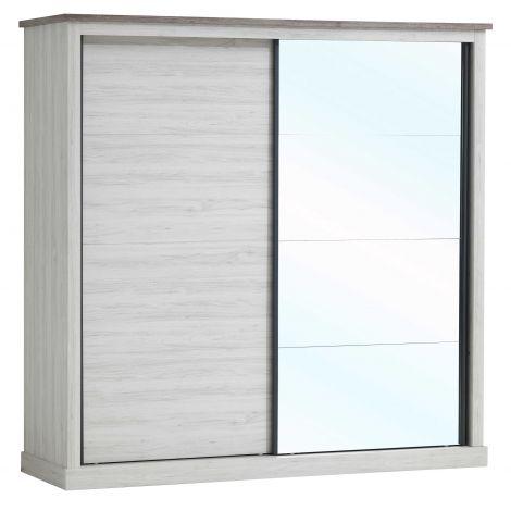 Armoire Emily 220cm avec 2 portes coulissantes & miroir - chêne gris