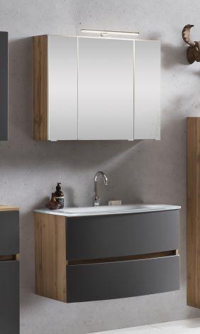 Ensemble salle de bains Kornel 1 à 2 pièces avec vasque blanche - chêne/gris
