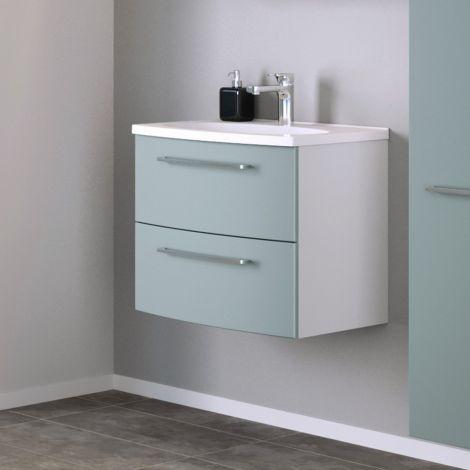 Meuble lavabo Gene 60cm 2 tiroirs - blanc/vert
