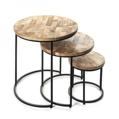 Lot de 3 tables d'appoint Leo - bois/métal
