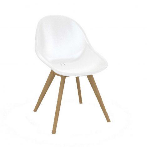 Chaise de jardin Taby - blanc/teck