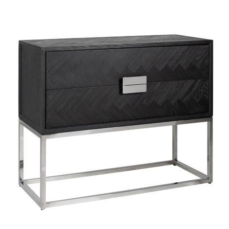 Chiffonnier Bony 108cm 2 tiroirs - noir/argent