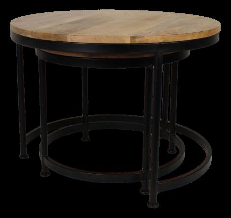 Table basse Steal - ø70 cm - bois de manguier / fer - ensemble de 2 - naturel