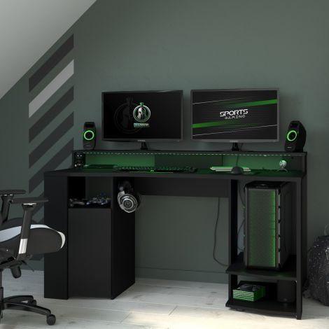 Bureau Gaming 152cm avec ruban LED - noir