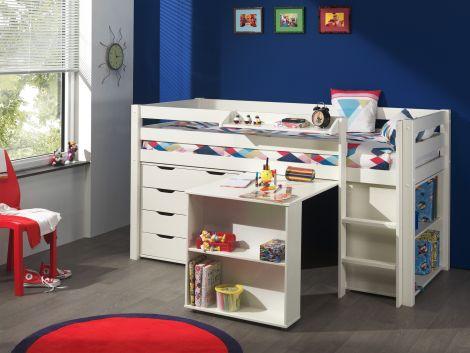 Lit mi-hauteur Charlotte avec bureau, bibliothèque et chiffonnier - blanc
