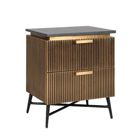Table de chevet Aarons 50,5cm 2 tiroirs - or