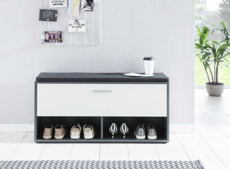 Armoire à chaussures Karin avec coussin - blanc / gris graphite