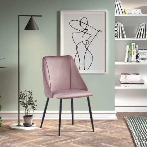Lot de 2 chaises Maria velours - rose/noir