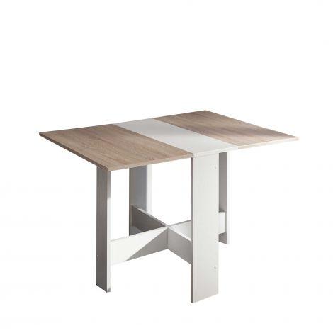 Table à manger Papillon 103 cm - blanc/chêne