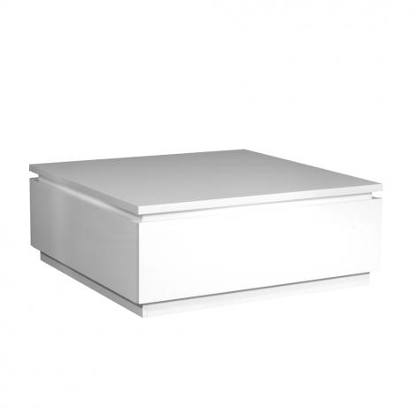 Table basse Elif 90x90 avec éclairage - blanc brillant
