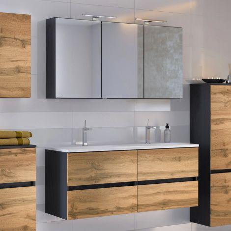 Ensemble salle de bains Luna 2 pièces 120cm - graphite/chêne