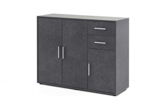 Armoire Maxi-office 3 portes & 2 tiroirs - graphite