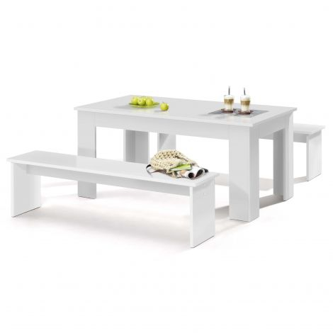 Table et bancs Munich 140cm - blanc