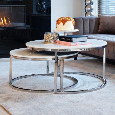 Lot de 2 tables basses Levanto - argent/blanc