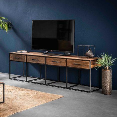 Meuble TV Florin 180 cm 4 tiroirs - bois dur