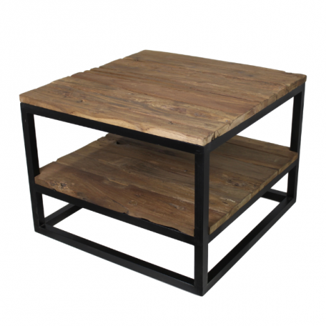 Table basse Dens 60x60 avec tablette - bois/fer