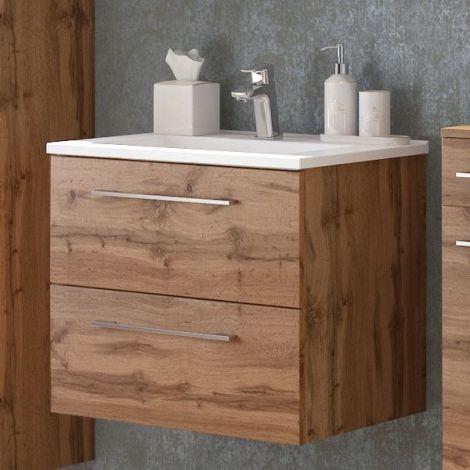 Meuble lavabo Sefa 60cm 2 tiroirs - chêne wotan